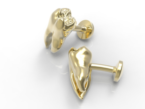 Tooth Cufflinks in Polished Brass