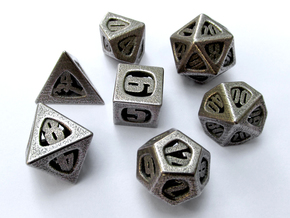 Thoroughly Modern Dice Set with Decader in Stainless Steel