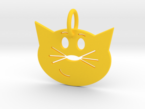 Smug Cat Keychain in Yellow Strong & Flexible Polished