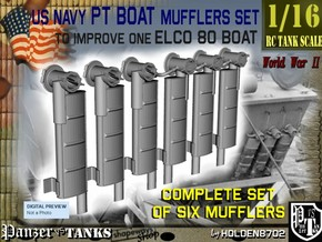 1-16 PT Boat Mufflers Set in Frosted Ultra Detail