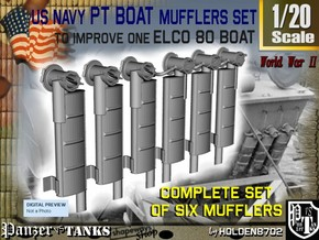 1-20 PT Boat Mufflers Set in Frosted Ultra Detail