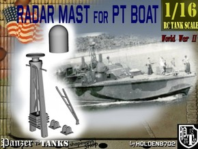 1-16 Radar Mast For PT BOAT in White Strong & Flexible Polished