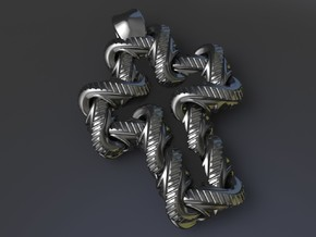 S Chain Cross Pendant in Polished Grey Steel
