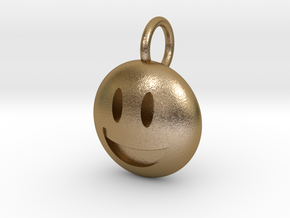Smiley Dime Sized Emoji in Polished Gold Steel