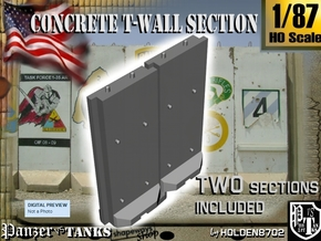 1-87 Concrete T-Wall Section Set in White Strong & Flexible