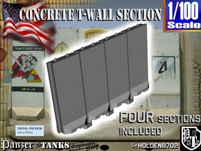 1-100 Concrete T-Wall Section Set in White Strong & Flexible