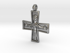 Virgin Mary Cross Pendant in Raw Silver