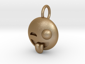Dime Sized Emoji Big Eye Tongue Sticking Out in Matte Gold Steel