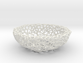 Fruit bowl (34 cm) - Voronoi-Style #2 in White Strong & Flexible