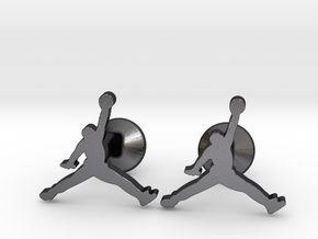 Jumpman Cufflinks in Polished Grey Steel