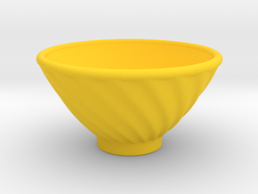 DRAW bowl - ceramic spiral ridged in Yellow Strong & Flexible Polished