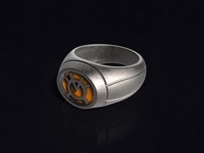 Orange Lantern Ring in Stainless Steel