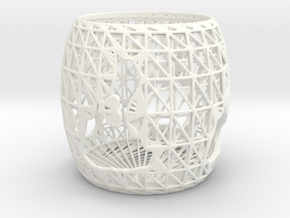 3D Printed Block Island Tea Light 2 in White Strong & Flexible Polished