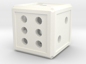 Traditional Dice in White Strong & Flexible Polished