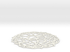 Drink coaster - Voronoi #4 (9 cm) in White Strong & Flexible