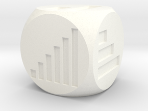 Bar Graph Die (d6) in White Strong & Flexible Polished