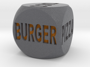 Fast Food Decision Die-Black with orange letters in Full Color Sandstone