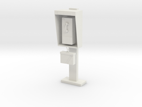 1:10 scale phone booth in White Strong & Flexible