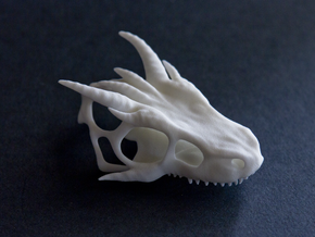 Small Dragon Skull in White Strong & Flexible