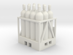 Acetylene Tanks On Pallet 1-45 Scale in White Strong & Flexible