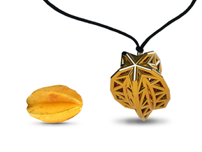 Poly Star Fruit Jewel in Polished Gold Steel
