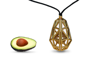 Poly Avocado Jewel in Polished Gold Steel