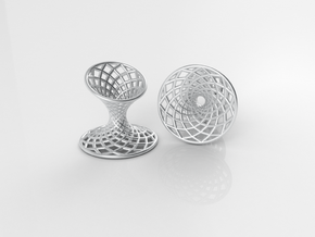 Diagrid Cufflinks - Circle in Premium Silver