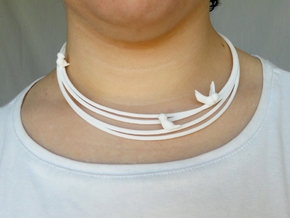 Birds on Wires Necklace Small in White Strong & Flexible Polished