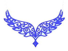 Angel Wings Pendant - in nylon in Blue Strong & Flexible Polished