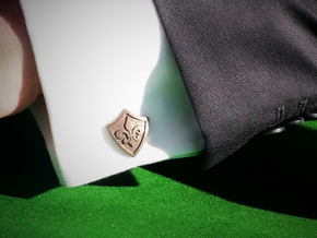 Fleur De Lis Shield Cufflinks in Polished Bronze Steel