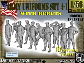 1-56 Army Modern Uniforms BERETS Set 4-1 in Frosted Ultra Detail