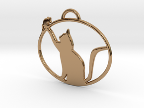 Friendly Cat Pendant in Polished Brass