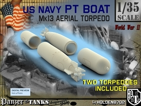 1-35 Torpedo Mk13 For PT Boat Set1 in White Strong & Flexible Polished