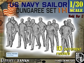 1-30 US Navy Dungaree Set 11-1 in White Strong & Flexible