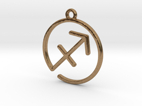 Sagittarius Zodiac Pendant in Raw Brass