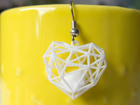 Wireframe Heart Earring in White Strong & Flexible