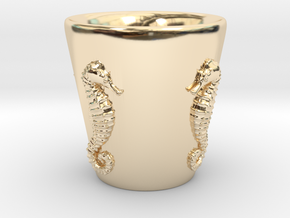 Seahorse Shot Glass in 14K Gold