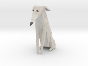 Folded Sculpture Dogs, Italian Greyhound in Full Color Sandstone