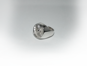 Jet Engine Ring 19 mm in Polished Silver