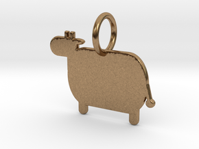 Cow Keychain in Raw Brass
