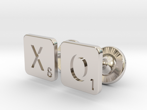 Hugs and Kisses XO Scrabble Cufflinks in Rhodium Plated