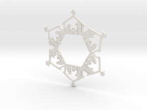 Nativity Snowflake Ornament in White Strong & Flexible