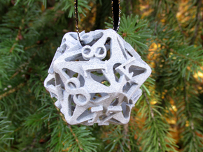 Pinwheel Die20 Ornament in Metallic Plastic