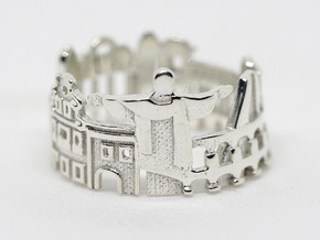 Rio De Janeiro Skyline - Cityscape Ring in Polished Silver