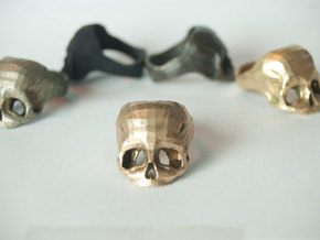 Bronze Skull Ring by Bits to Atoms in Polished Bronze