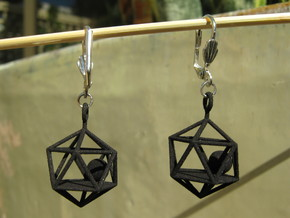 Dodecahedron and Ball Earrings in Red Strong & Flexible Polished