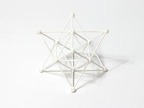 'Sprued' Star Tetrahedron #white in White Strong & Flexible Polished