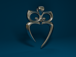 Owl Heart Pendant in Stainless Steel