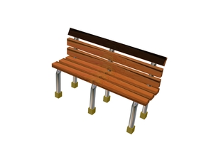 8 Wood Metal Frame Benches in Frosted Ultra Detail