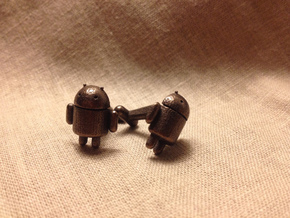 Android Cufflinks in Polished Bronze Steel